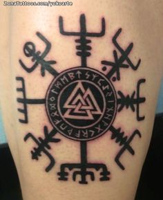 Valknut was one of the most sacred symbols in Norse mythology and Viking belief. Valknut symbol was known as the Heart of the Slain. Valknut was actually the symbol of Odin the Allfather who was also known as the nonstop seeker af Simbolos Tattoo, Tattoo Hals, Body Art Tattoos, New Tattoos, Tribal Tattoos, Sleeve Tattoos, Tattoos For Guys, Cool Tattoos, Indian Tattoos