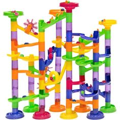 Best Choice Products 105 PieceTranslucent Marble Run Coaster Railway Toy Game Set 75 Building Blocks+30 Marbles