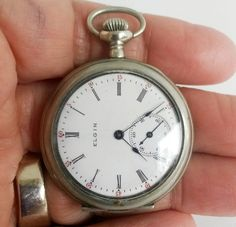 Antique 1900s Elgin Chronograph Silverode Open Face Pocket Watch NeedsTLC #Elgin