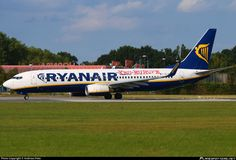 Ryanair (IE) Boeing 737-8AS(WL) EI-EFP aircraft, with the sticker ''Ryanair says yes to Europe'' on the airframe, skating at Germany Bremen International Airport. 01/09/2016.