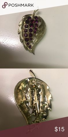 Vintage Grape Leaf Brooch Lovely Vintage piece - in NEW condition! Jewelry Brooches