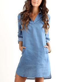 Love this LARA Fashion Light Blue Chambray Shift Tunic by LARA Fashion on #zulily! #zulilyfinds