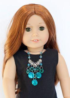 American Girl doll statement necklace  blue by EverydayDollwear