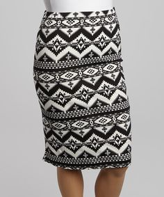 Take+a+look+at+the+Black+&+White+Zigzag+Tribal+Pencil+Skirt+-+Plus+on+#zulily+today!