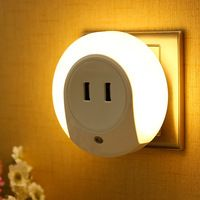 LED Night Light with Dusk to Dawn Light Sensor Dual USB Wall Plate Charger Power Socket with warm white LED Night Light