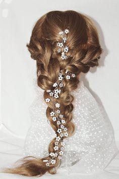 Bridal hair vine for long hair wedding crystal wreath crystal twigs bridal headband wedding pearl vine crystal garland headpiece baby breath by LeraLem on Etsy