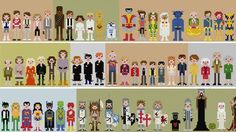Star Wars, Monty Python, Fantastic Four, X-Men, Ghostbusters, Justice League, Batman, Pretty In Pink, Ferris Bueller, Princess Bride, Goonies... even the Golden Girls. These 8-bit cross-stitching patterns are all awesome and incredibly charming. Just perfect nostalgia pixels. I want to make a blanket with all of them.