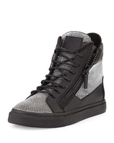 Studded Leather High-Top Sneaker, Nero by Giuseppe Zanotti at Bergdorf Goodman.