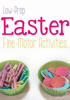 These low-prep Easter fine-motor activities are the perfect way to work on fine-motor skills this Spring!!