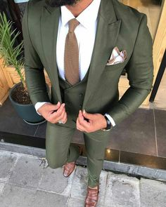 This wool three piece trim fitting custom suit can be recreated for your body measurements by Giorg Green Wedding Suit, Summer Wedding Suits, Wedding Attire, Men Wedding Suits, Groom Attire, Groom And Groomsmen, Groom Suits, Green Suit Men, Olive Green Suit