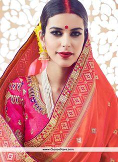 Captivating Orange Traditional Designer Saree