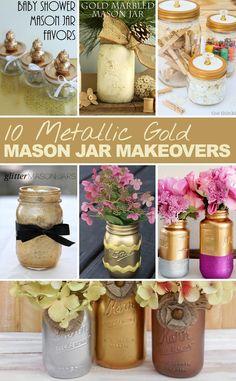 Metallic Gold Mason Jars