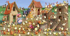 Praatplaat: Tel de eieren, koeien, kuikens, kippen enz. Hens, Preschool, Easter, Illustration, Crafts, Painting, Spy, Farm Animals, Language
