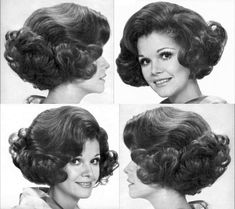 1960 Hairstyles, Classic Hairstyles, Vintage Hairstyles, Prom Hairstyles, Style Année 60, Curly Hair Styles, Natural Hair Styles, 1960s Hair, Sheila