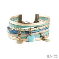 Bracelet manchette Boho turquoise et or : Bracelet par milado