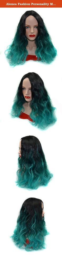 Alonea Fashion Personality Malachite Green Wig Wavy Color Roll Volume Points (Green). Description: Our wigs are made of high quality Chemical fiber high temperature wire, and every wig is handmade by skillful workers, the quality is guaranteed. The wig is on an adjustable net-cap that fits small or large head sizes Contain: 1 PC malachite green wig.
