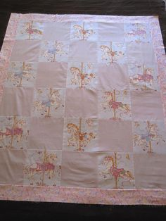 """Unfinished Quilt Top Throw Size Carousel Horses Pink & Lavender Girls 46"""" X 54"""" #handmade"""
