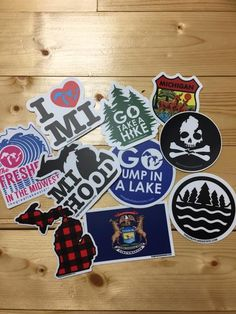 Bundle of 10 Michigan vinyl stickers with UV laminate