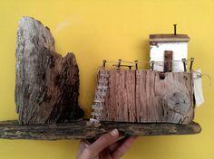 Open sea - driftwood, wood, decor,small houses, handmade, sea.