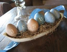 This is an amazing idea! Use stickers for the letters and food colouring to dye the eggs.