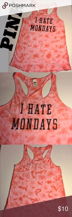 "PINK ""I Hate Mondays"" long sleep tank coral Sz L PINK by Victoria's Secret long tank ""I Hate Mondays"". Shades of coral & pink, black lettering. Measures 21"" from underarm to hem. Wear as a sleep shirt, or layer over a cami & leggings, it's a nice long length. Could also use as bathing suit cover-up. Soft 60% cotton, 40 poly. Size L.  (#228) PINK Victoria's Secret Tops Tank Tops"