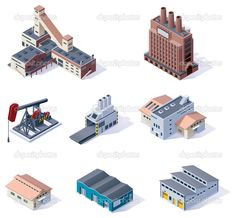 Vector isometric buildings. Industrial — Stock Illustration #14469375