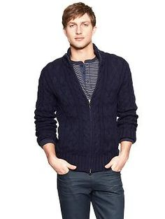 Chunky cable zip up sweater   Gap