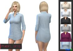 The Sims 4   NyGirl Sims Plain Business Shirt Recolor   cas clothing bg recolor female adult top everyday sleepwear