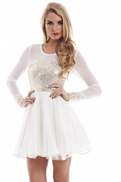 Sequin Mesh Long Sleeve Kick Out Skater Cream  Dress