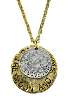 I Love You...To The Moon and Back - $128.00 : Diana Warner Studio, The Marriage of Art & Fashion   www.dianawarnerstudio.com  Diana Warner Studio I Love You...To The Moon and Back - Two tone, hand hammered necklace on 30 inch antique gold chain is the perfect gift for this holiday season. Please allow 3 weeks for delivery. Every piece is handcrafted in our NYC studio....with love...
