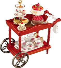 Miniature Doll House Serving Cart Display