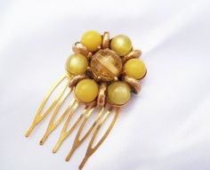 Yellow Wedding Hair Comb by ScribbleChickenShop on Etsy, $16.00