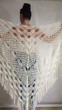 Ivory Wedding shawl Bridesmaid shawl Bridal Shawl Wedding Cape, Crochet Lace Shawl Wrap Triangle fringe Hand Knit Wool Shawl, Mother of groom gift, With each shawl you will get a GIFT - brooch in the same color))) SIZE ( Large) Length - top 102 Poncho Au Crochet, Crochet Cape, Crochet Shawls And Wraps, Knitted Shawls, Crochet Scarves, Crochet Clothes, Knit Crochet, Lace Shawls, Crochet Shawl Diagram
