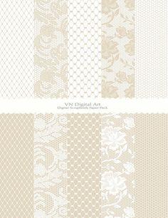 "Digital Paper, Lace & Mesh Digital Scrapbook Paper Pack (8.5x11""-300 dpi) -- Instant Download -- 10 Digital papers -- 405"