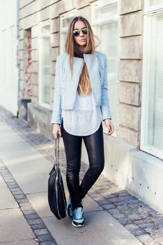 ca8f2247 Discover this look wearing Light Blue Zara Jackets, Black Falabella Stella  McCartney Bags tagged blue, jacket, light blue - Sky blue by pouline styled  for ...