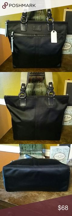 "Coach Tote Zip top. Satin and leather trim. Slight wear to corners and a little dirty on the inside lining. 9"" strap drop. 13.5x10.5x5. Coach Bags Totes"