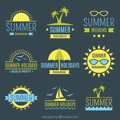 Summer badge collection in yellow color Free Vector