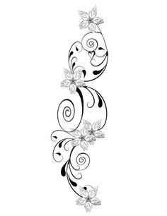 modèle tatouage original - fleurs délicates et un petit cœur                                                                                                                                                                                 Plus