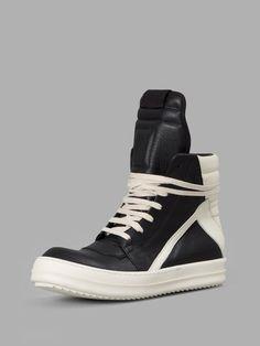 RICK OWENS Rick Owens Women'S Black/White Geobasket Sneakers. #rickowens #shoes #sneakers