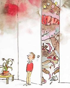I love Quentin Blake.  His illustrations are a wonderful combo of kid scribble & solid artistic skill.  I can't picture any of my favorite Roald Dahl books without thinking of his pictures.