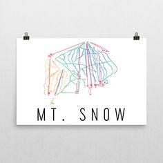 Mt. Snow Ski Map Art Mt. Snow VT Mt. Snow Trail by ModernMapArt