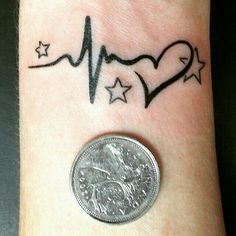 What does heartbeat tattoo mean? We have heartbeat tattoo ideas, designs, symbolism and we explain the meaning behind the tattoo. Trendy Tattoos, Mini Tattoos, Love Tattoos, Beautiful Tattoos, Picture Tattoos, New Tattoos, Small Tattoos, Tattoos For Women, Ekg Tattoo