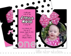 Minnie Mouse Photo Birthday Invitation by LittleStarStudios, $15.00