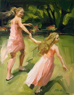 Michelle Torres, paints figures in oil.