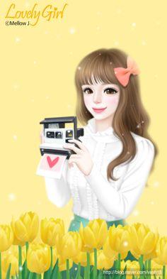 Cute Kawaii Girl, Cute Cartoon Girl, Korean Illustration, Illustration Art, Girly M, Lovely Girl Image, Cute Girl Drawing, Cute Girl Wallpaper, Anime Dolls
