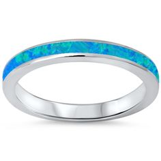 ▌925 Sterling Silver Lab Blue Opal Eternity Band Ring Size 4,5,6.7,8,9-12 »R102…