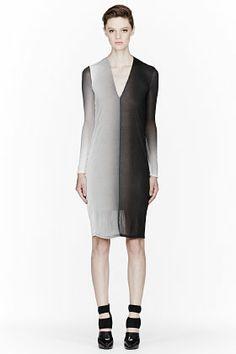 HELMUT LANG // NAVY OMBRE V-NECK DRESS