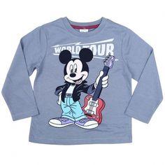 T-Shirt Mickey World Tour - Manches Longues - Bleu Gris, Disney, 13,90 €