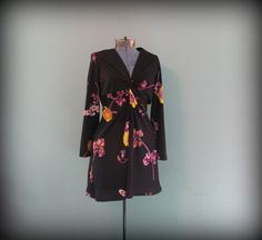 Vintage 70s Sarong Dress Black Pink and Yellow by offbeatvintage, $29.00