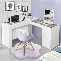 Room Design Bedroom, Girl Bedroom Designs, Small Room Bedroom, Room Ideas Bedroom, Home Room Design, Home Office Design, Bedroom Furniture, Deco Furniture, Furniture Design